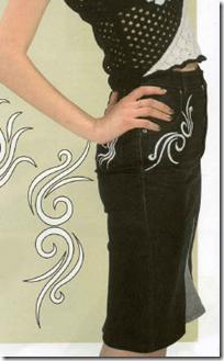 Длинная джинсовая юбка с узором из старых джинсов