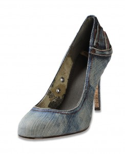 Джинсовые туфли на каблуке