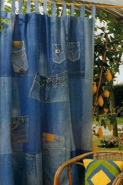 штора сделать из старых джинсов
