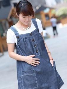 джинсовое платье беременной